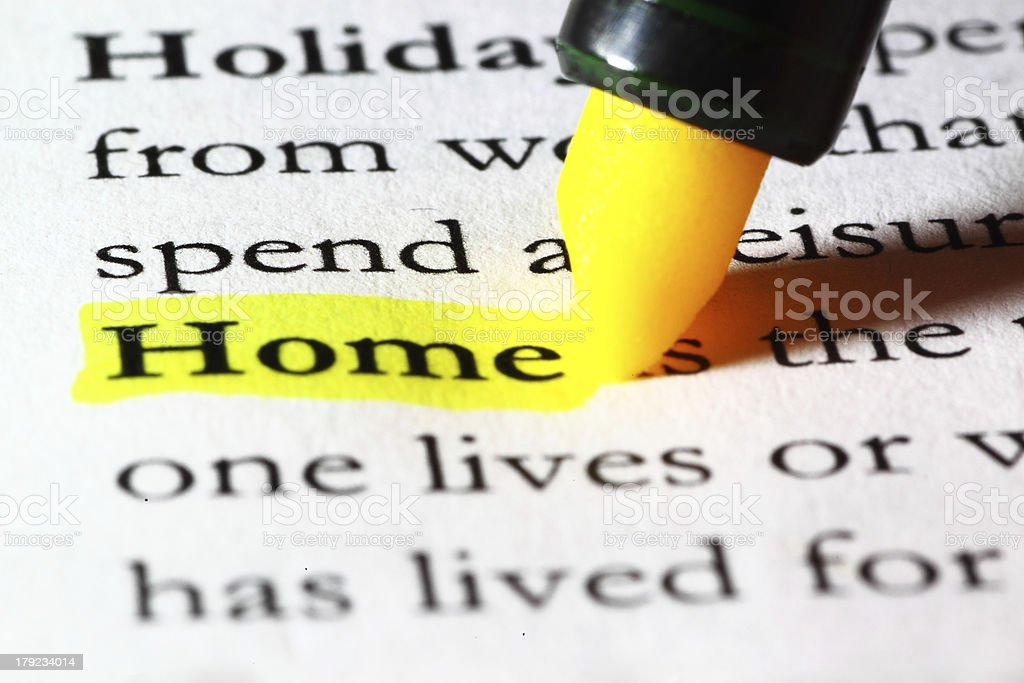 Word home highlighted with a yellow marker royalty-free stock photo