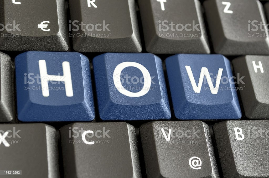 Word HOW written on computer keyboard royalty-free stock photo