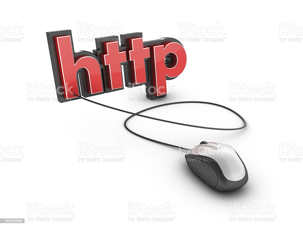 3D Word HTTP with Computer Mouse royalty-free stock photo