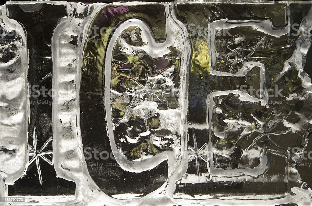 Word Ice carved in a Clear Block stock photo
