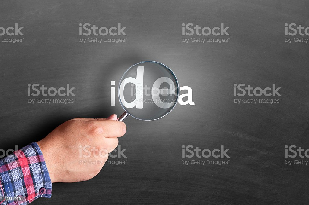 Word Idea under magnifying glass stock photo