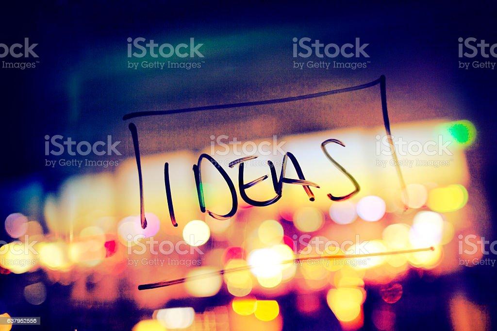 Word ideas written on glass wall in design planning office stock photo