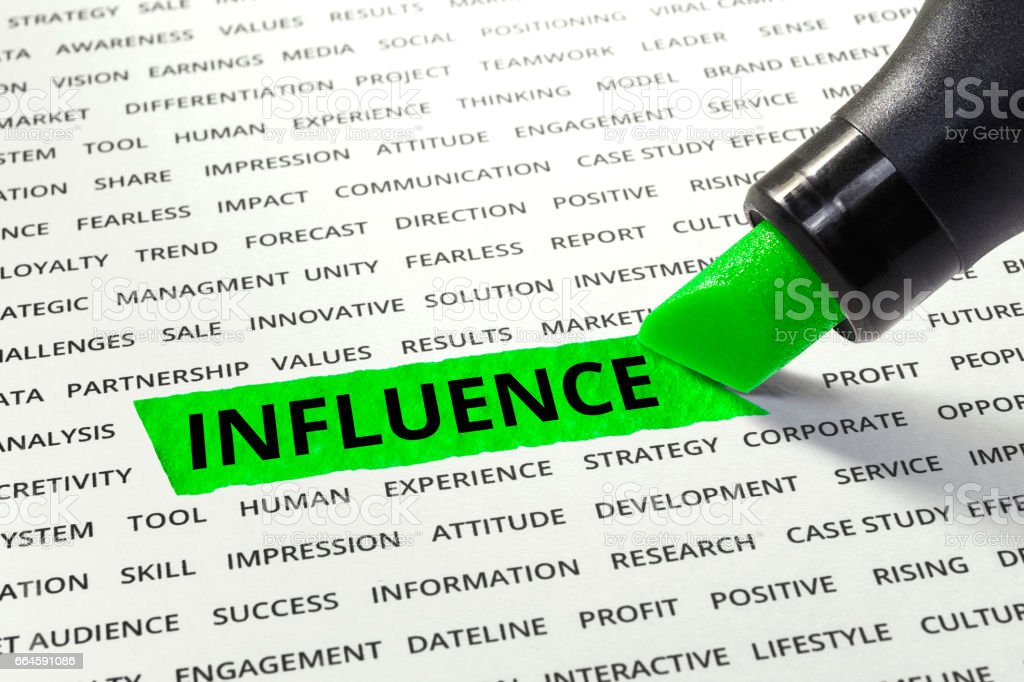 Word Influence highlighted with marker on paper stock photo