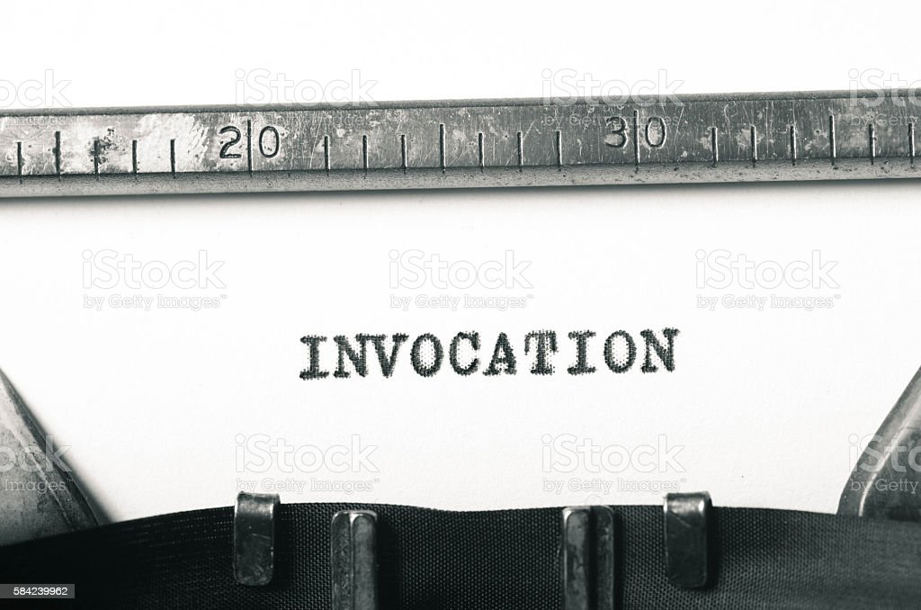 word invocation typed on typewriter stock photo
