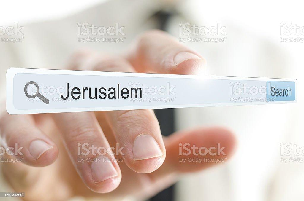 Word Jerusalem written in search bar royalty-free stock photo