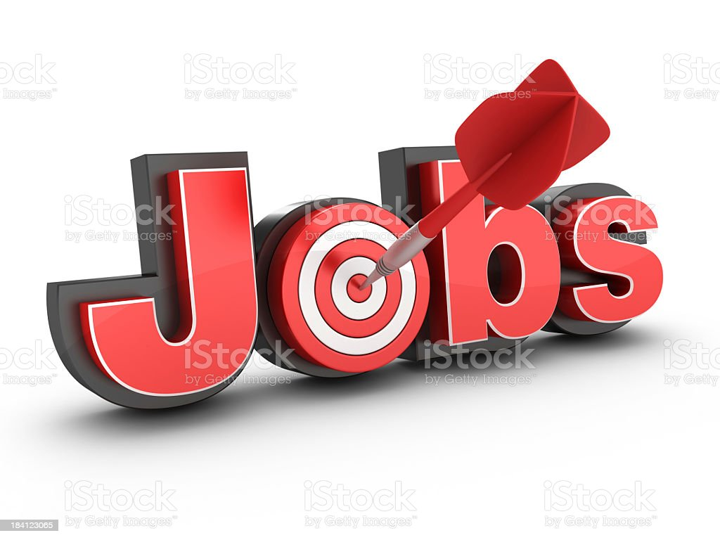 3D Word Job with Target and Dart royalty-free stock photo