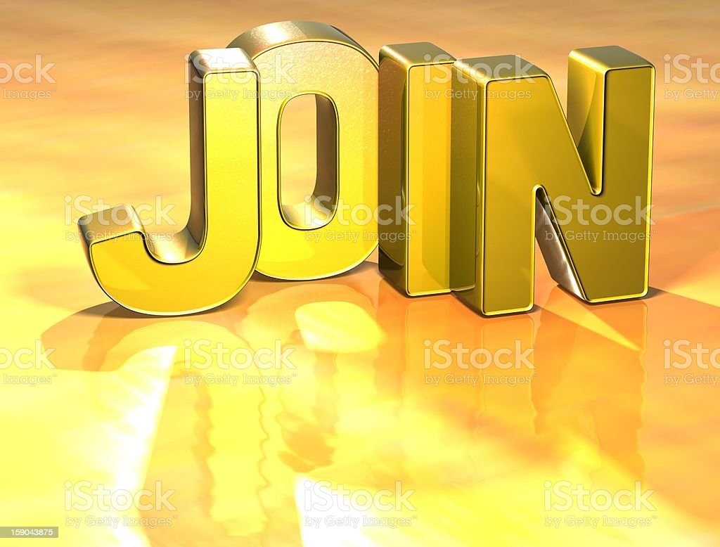3D word JOIN on yellow background royalty-free stock photo
