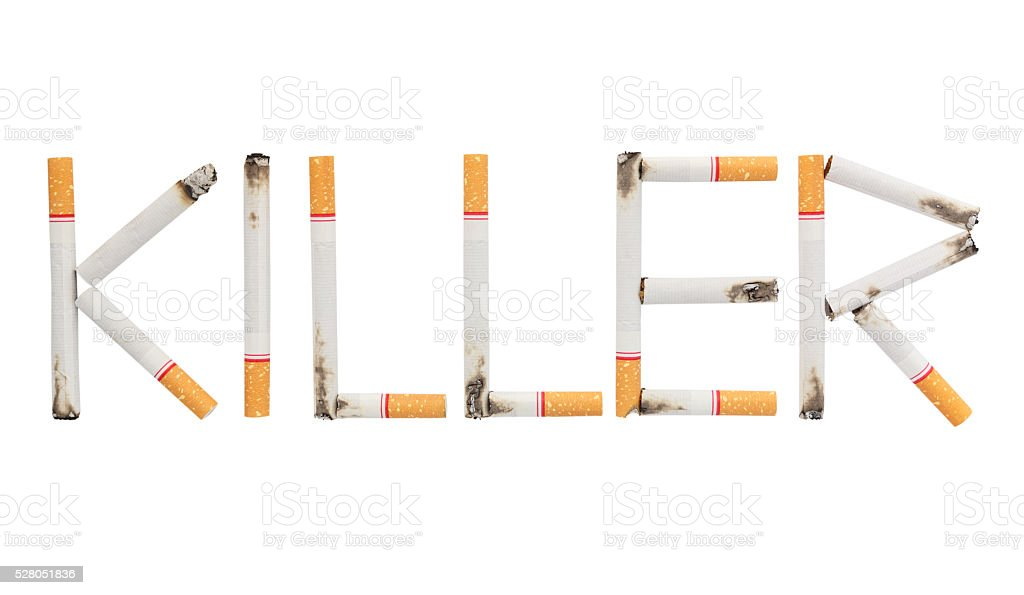 word killer made from burnt cigarettes on white background stock photo