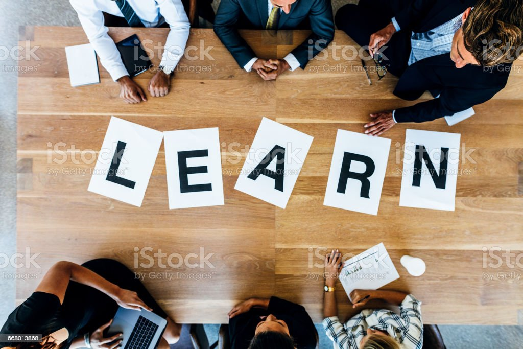 Word learn on business working table stock photo