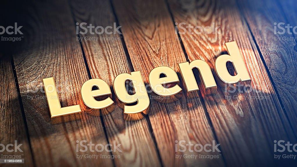 Word Legend on wood planks stock photo