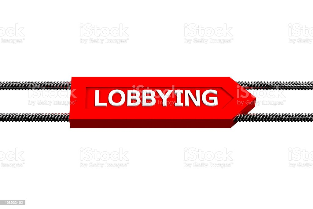 Word lobbying the arrow isolated on white background stock photo