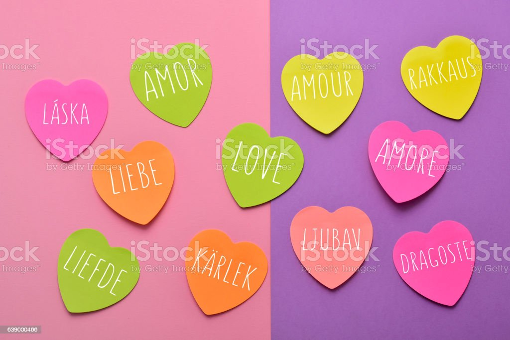 word love in different languages stock photo