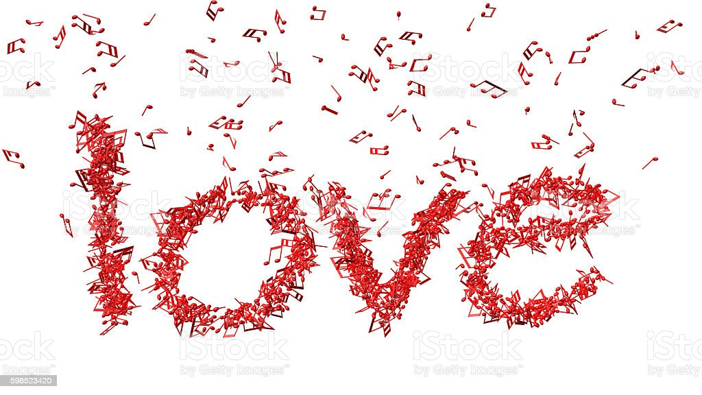 Word ' love' in shape of music notes stock photo