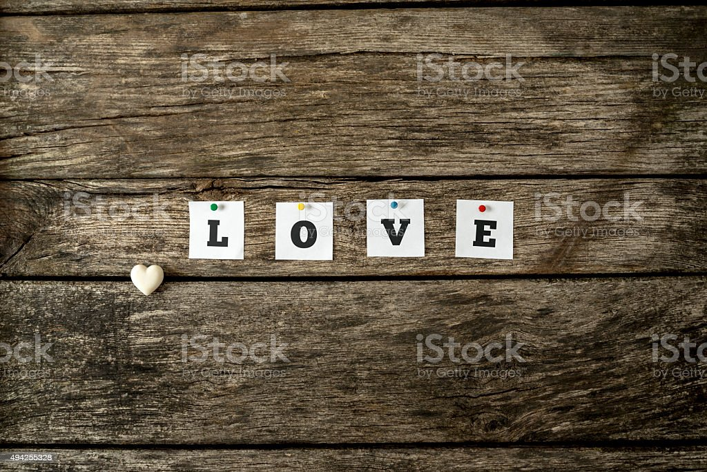 Word love spelled with individual white cards stock photo