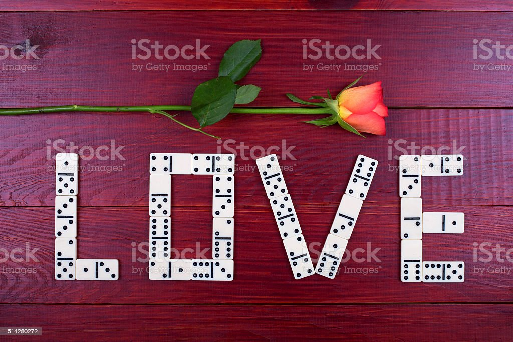 Word love with dominoes stock photo