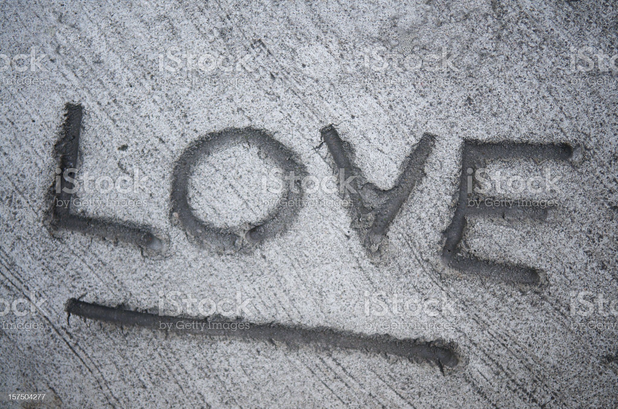 Word Love Written in Concrete royalty-free stock photo