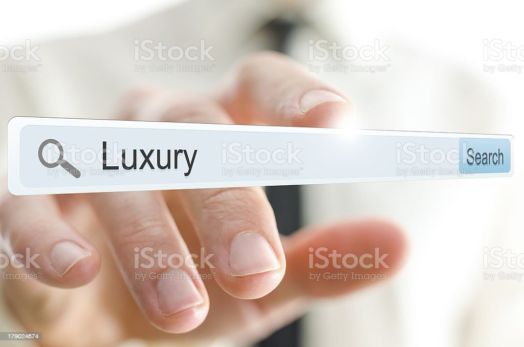 Word Luxury written in search bar royalty-free stock photo