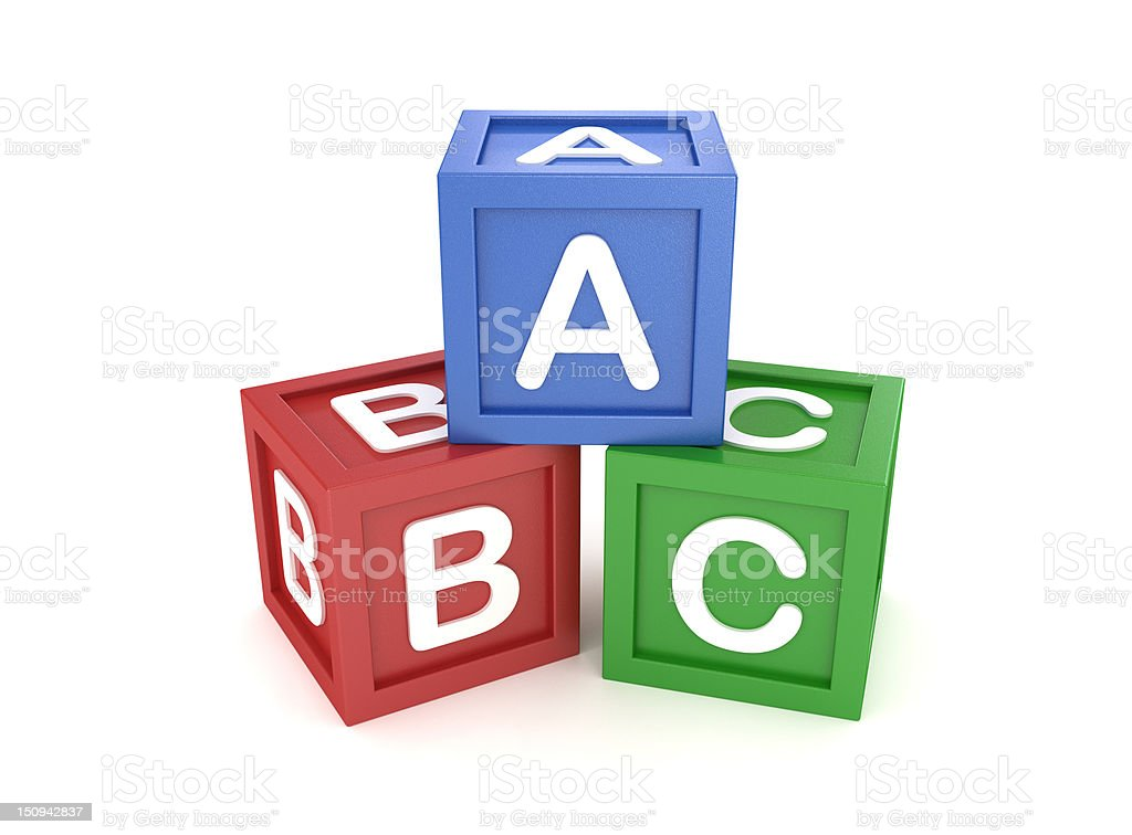 ABC Word made by Colored Toy Block on White Surface stock photo