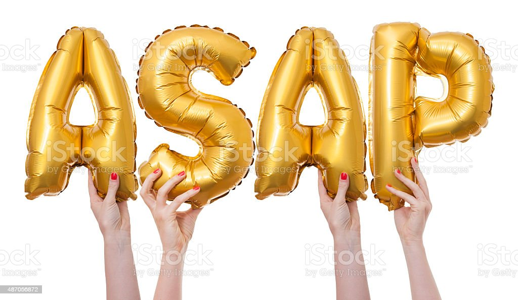 ASAP word made from gold balloons stock photo