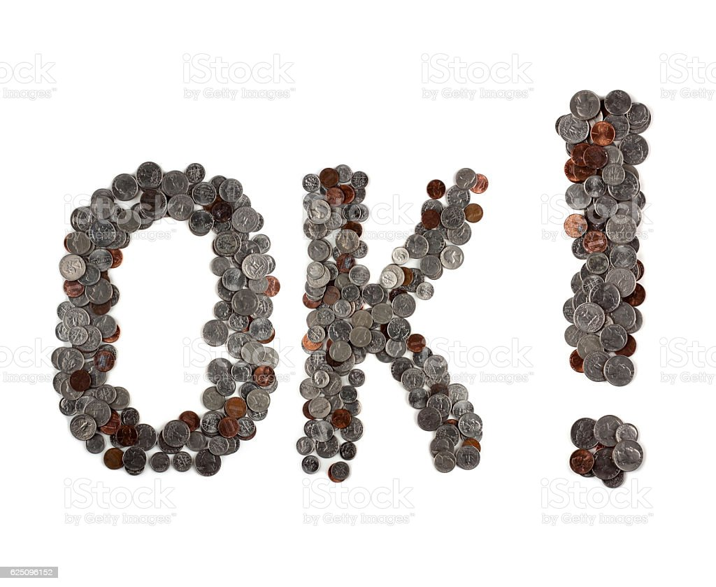 OK. Word made of coins. stock photo