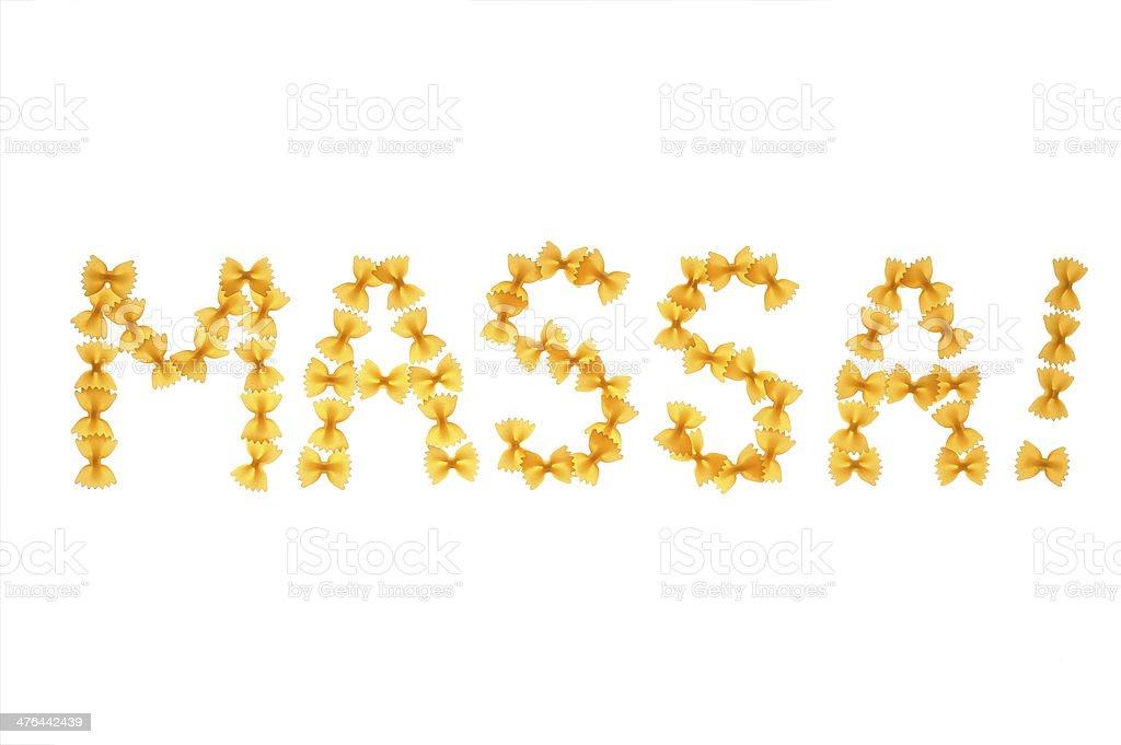 Word massa written with farfalle royalty-free stock photo