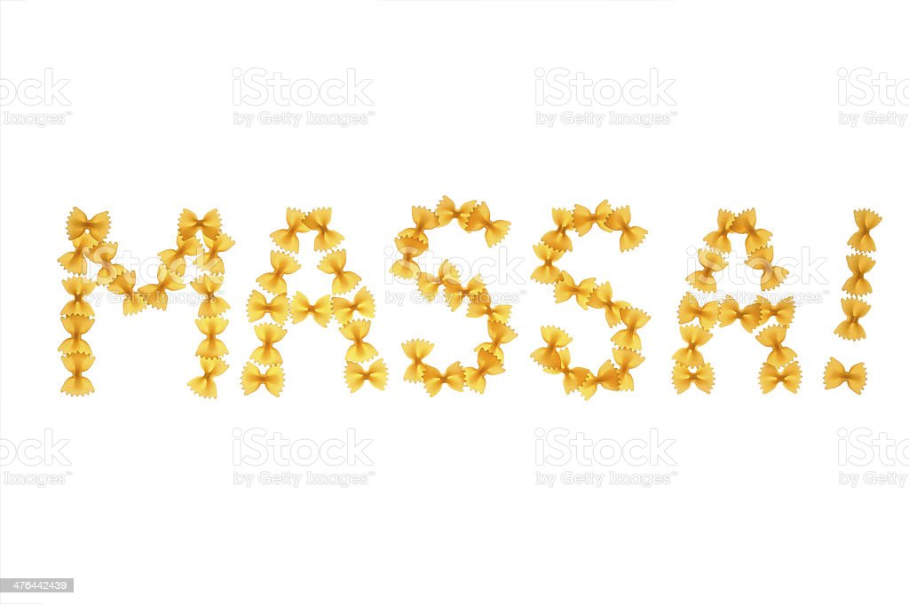 Word massa written with farfalle stock photo
