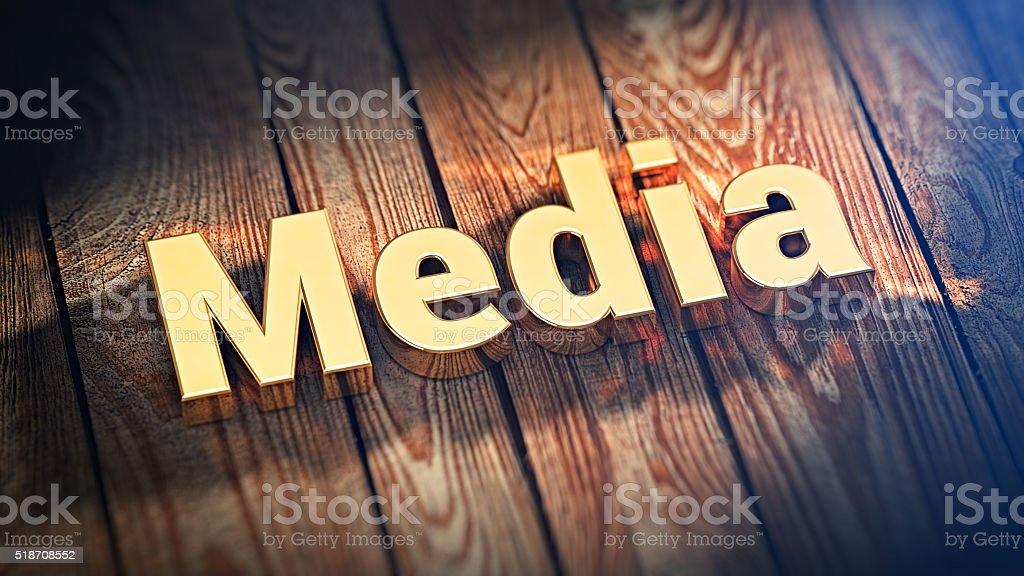 Word Media on wood planks stock photo