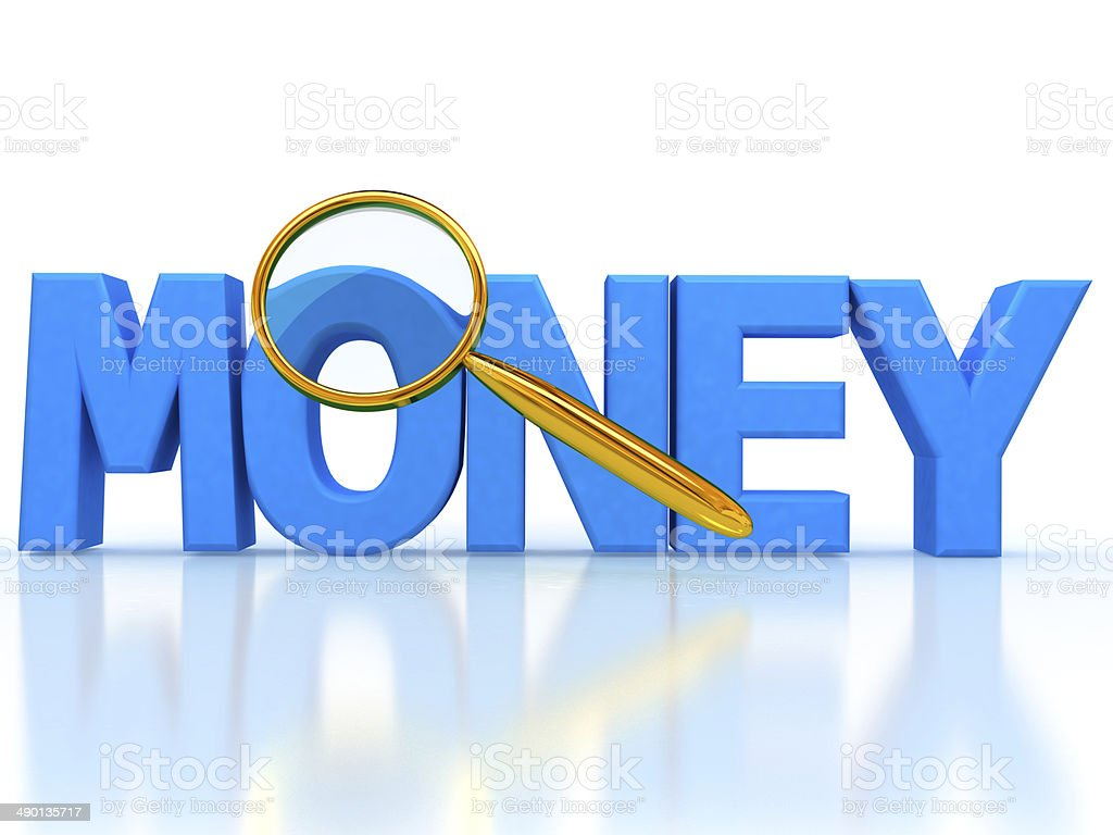Word money 3d letters under the magnifier stock photo
