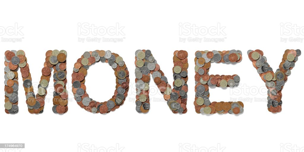 Word Money in British Coins royalty-free stock photo