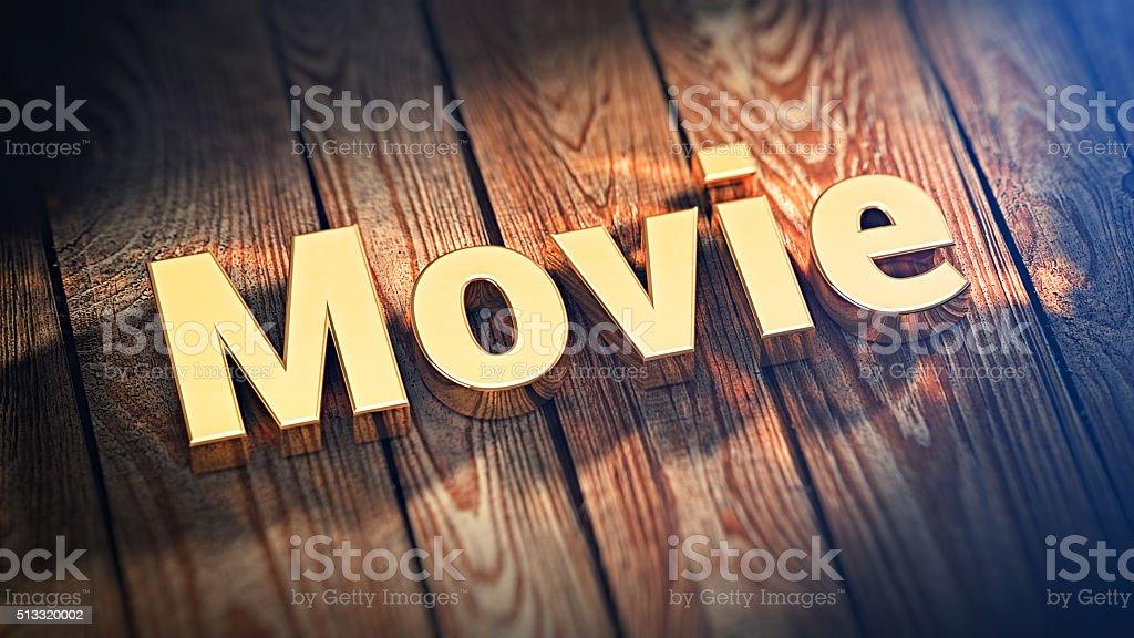 Word Movie on wood planks stock photo