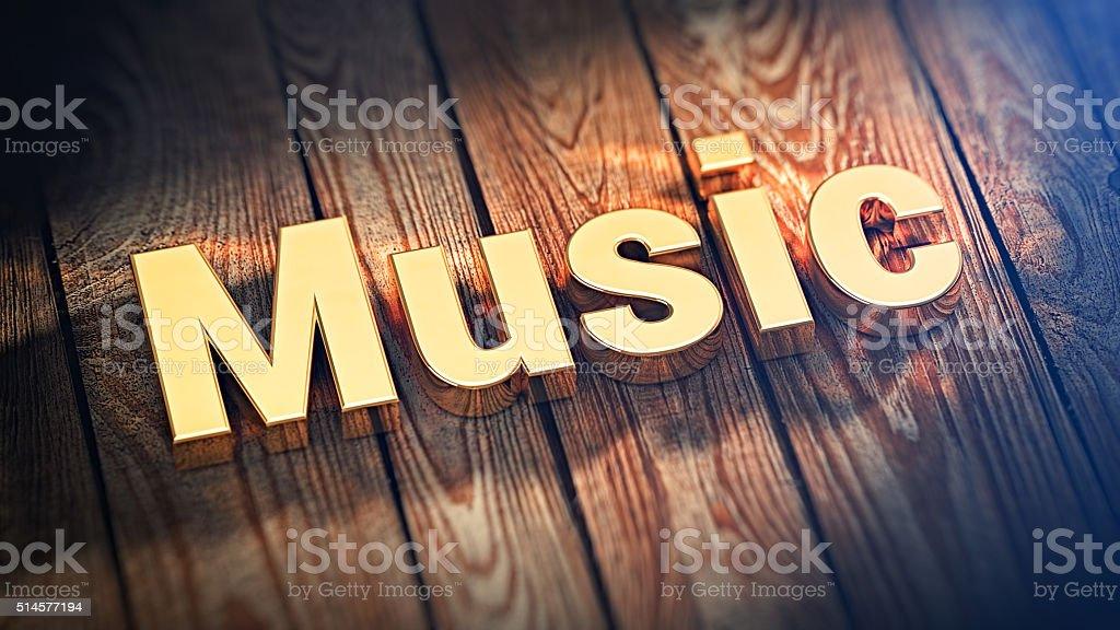 Word Music on wood planks stock photo