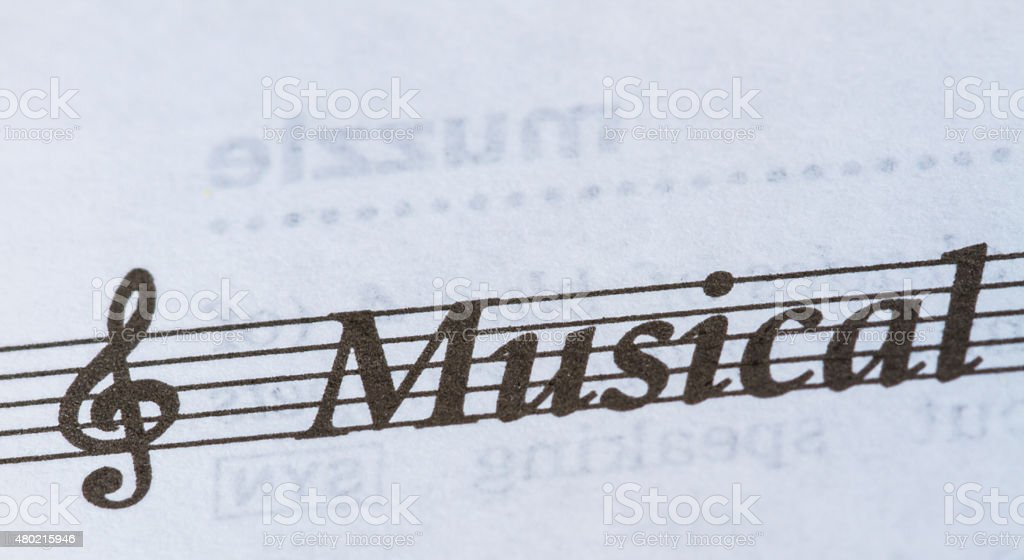 word Musical on paper stock photo