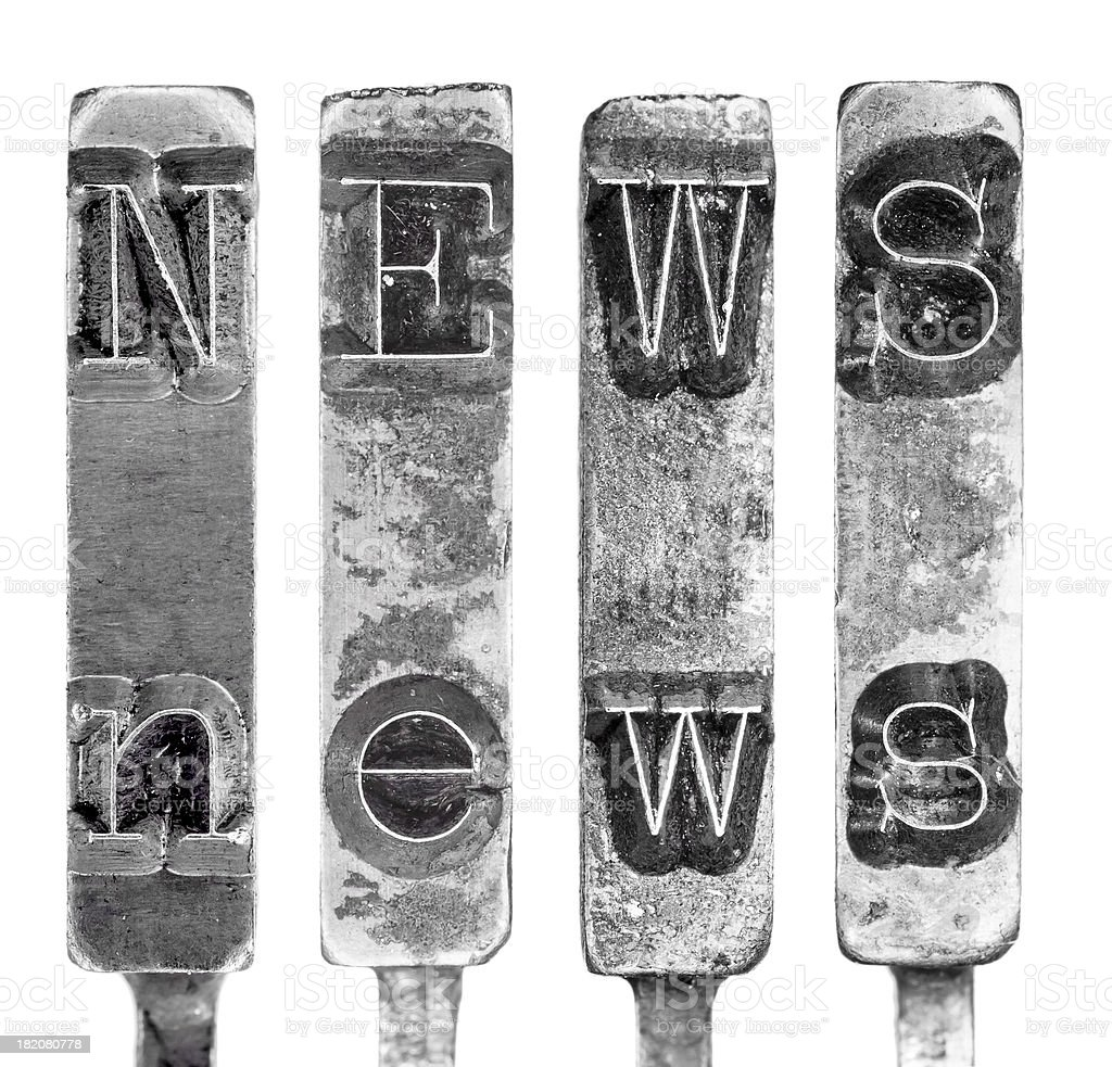 Word NEWS in Old Typewriter Typebar Letters Isolated on White royalty-free stock photo