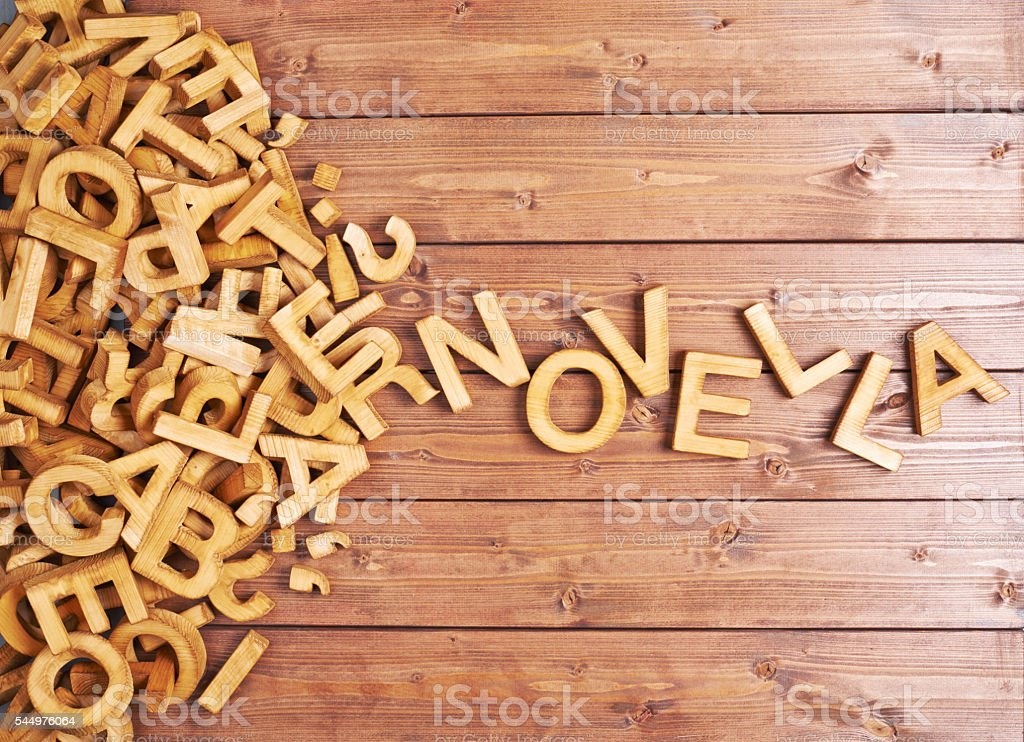 Word novella made with wooden letters stock photo