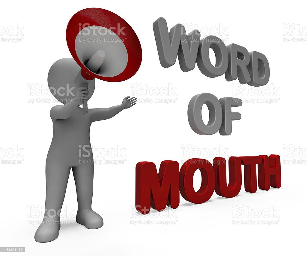 Word Of Mouth Character Shows Communication Networking Discussin stock photo