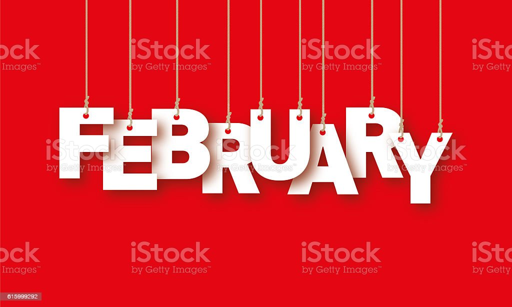 FEBRUARY word of the white letters hanging on the ropes stock photo