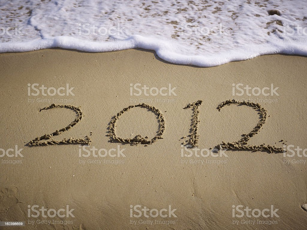 2012 word on beach stock photo
