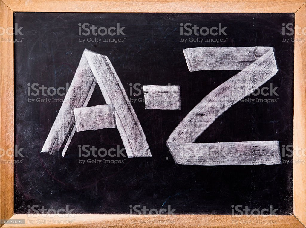 A-Z word on blackboard stock photo