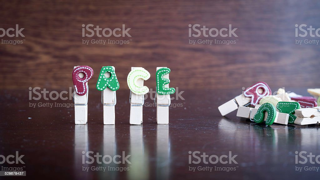 PACE word on clothes peg stick stock photo