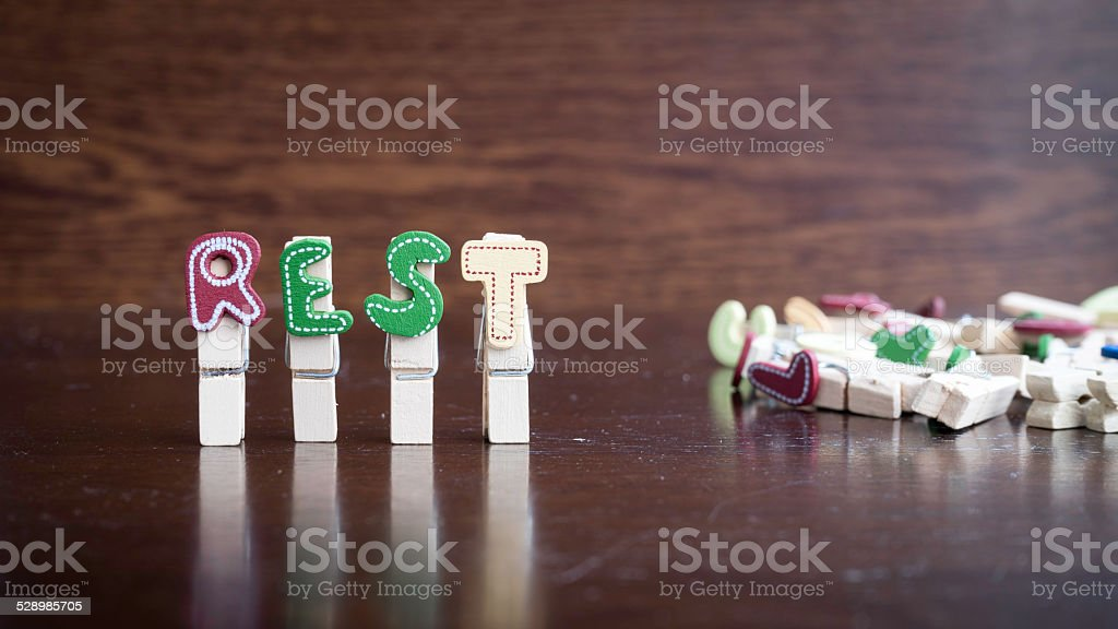 REST word on clothes peg stick stock photo