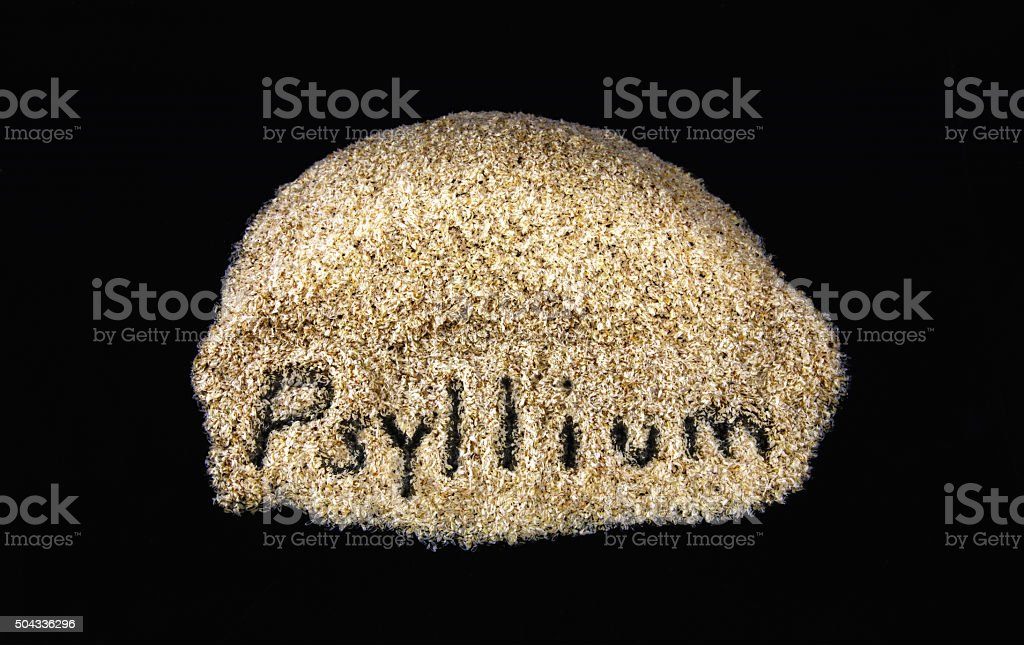 Word on daily dietary fiber supplement psyllium stock photo