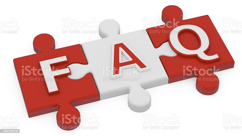 FAQ Word on Jigsaw Pieces stock photo