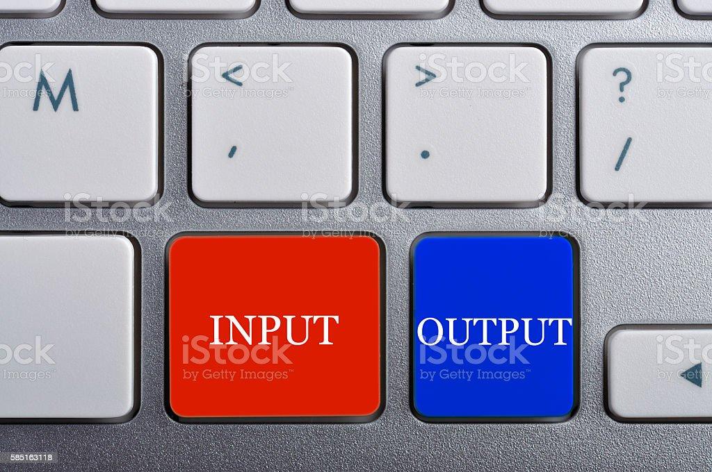 'INPUT/OUTPUT' Word on Keyboard, Antonym Concept stock photo
