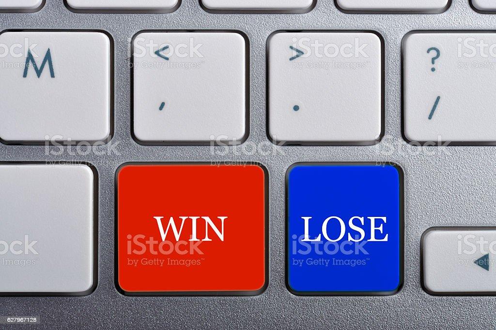 'WIN/LOSE' Word on Keyboard, Antonym Concept stock photo