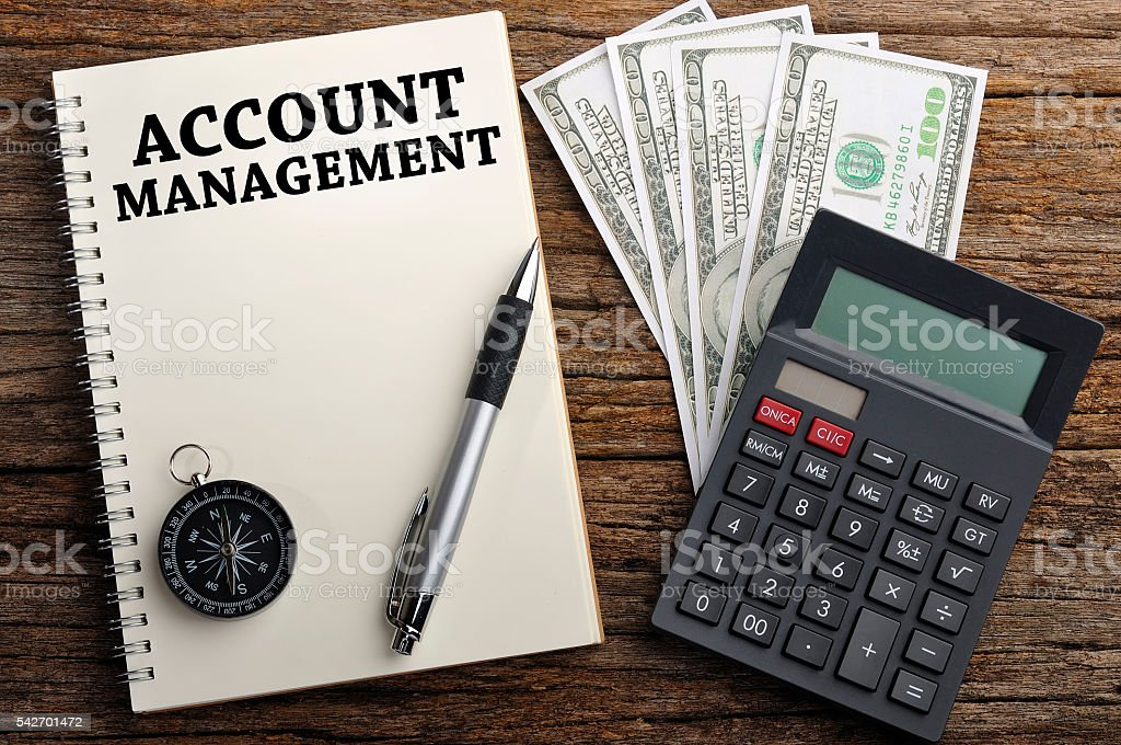 'ACCOUNT MANAGEMENT' Word On Note Book, Finance Concept stock photo