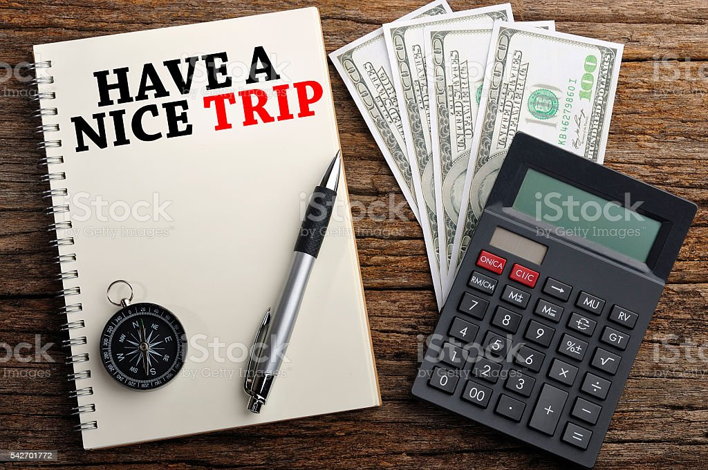 'HAVE A NICE TRIP' Word On Note Book, Travel Concept stock photo