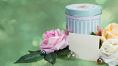 Word on paper, Gift jar, jar and next flowers, green