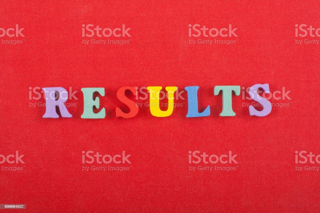 RESULTS word on red background composed from colorful abc alphabet block wooden letters, copy space for ad text. Learning english concept stock photo