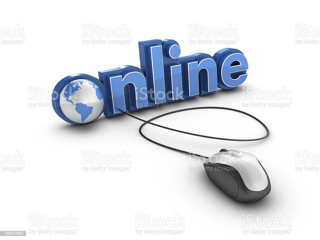 3D Word Online with Earth Globe and Computer Mouse royalty-free stock photo