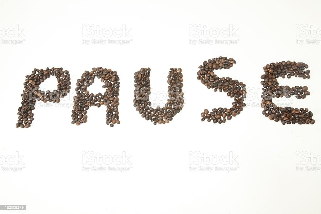 Word pause made with coffee beans royalty-free stock photo